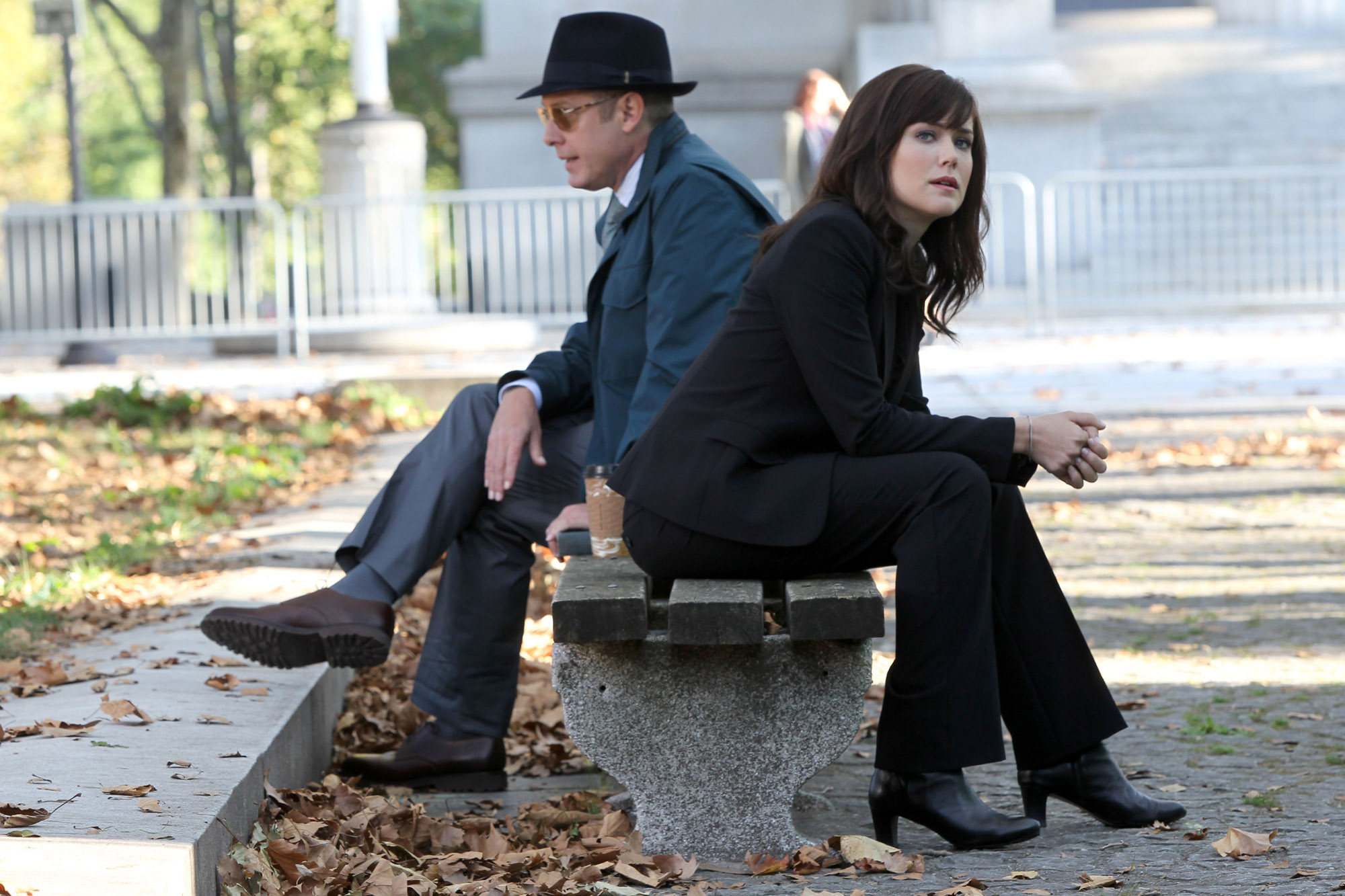 """NEW YORK, NY - OCTOBER 03:  James Spader, Megan Boone film NBC-TV's """"the Blacklist""""on October 3, 2013 in New York City.  (Photo by Steve Sands/Getty Images)"""